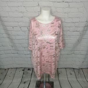 Lularoe Elegant Irma pink W/ silver accent Sz S